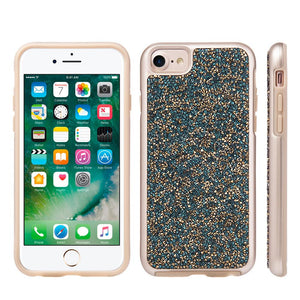 Rhinestone Diamond Platinum Collection Hybrid Bumper Case - Blue/ Gold for iPhone 6