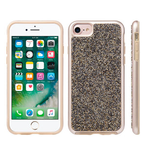 Rhinestone Diamond Platinum Collection Hybrid Bumper Case - Gold/ Grey for iPhone 6