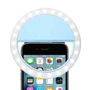 Rechargeable Selfie LED Camera Ring Light with 3 Adjustable Brightness Level - Blue