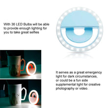 Load image into Gallery viewer, Rechargeable Selfie LED Camera Ring Light with 3 Adjustable Brightness Level - Blue