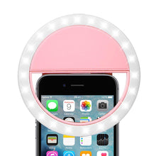 Load image into Gallery viewer, Rechargeable Selfie LED Camera Ring Light with 3 Adjustable Brightness Level - Pink