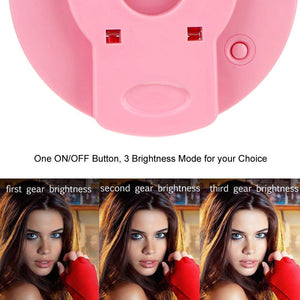 Rechargeable Selfie LED Camera Ring Light with 3 Adjustable Brightness Level - Pink