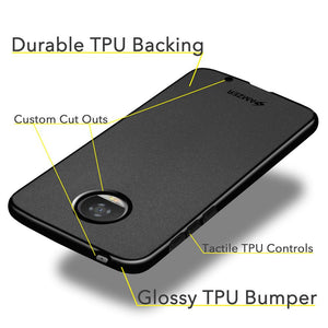 AMZER Pudding TPU Case - Black for Motorola Moto Z2 Play