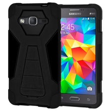 Load image into Gallery viewer, AMZER Dual Layer Hybrid KickStand Case - Black/ Black for Samsung GALAXY Go Prime G530A