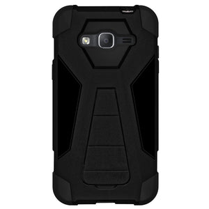 AMZER Dual Layer Hybrid KickStand Case - Black/ Black for Samsung GALAXY Go Prime G530A