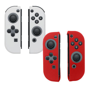 AMZER® Silicone Skin Jelly Case Combo (Pack of 2)- Clear & Red for Nintendo Switch