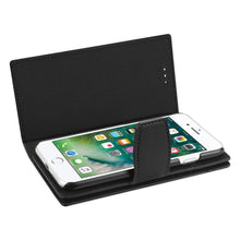 Load image into Gallery viewer, Reiko® Handcrafted Genuine Leather RFID Credit Card Holder Wallet Case - Black for iPhone 6 Plus