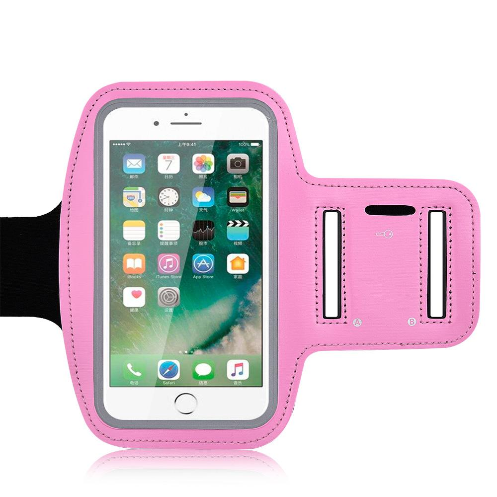 Universal Ultra Slim Adjustable Sports Armband With Key Holder - Pink