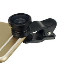 Load image into Gallery viewer, Universal Clip-On 3 IN 1 Fisheye Wide Angle Smartphones Macro Camera Lens - Black