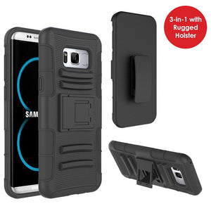 Rugged TUFF Hybrid Armor Hard Defender Case with Holster for Samsung Galaxy S8 Plus- Black/Black
