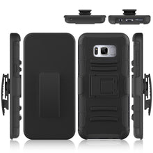 Load image into Gallery viewer, Rugged TUFF Hybrid Armor Hard Defender Case with Holster for Samsung Galaxy S8 Plus- Black/Black