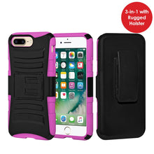 Load image into Gallery viewer, Rugged TUFF Hybrid Armor Hard Defender Case with Holster - Black/ Hot Pink for iPhone 7 Plus