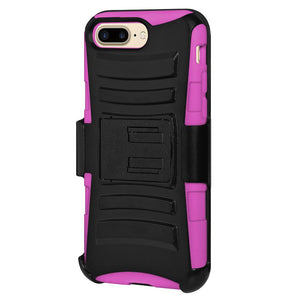 Rugged TUFF Hybrid Armor Hard Defender Case with Holster - Black/ Hot Pink for iPhone 7 Plus