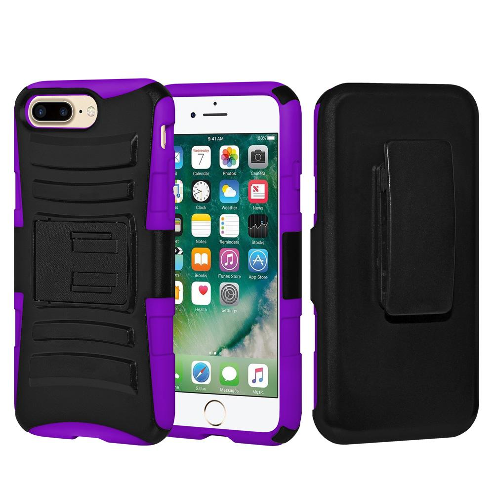 Rugged TUFF Hybrid Armor Hard Defender Case with Holster - Black/ Dark Purple for iPhone 7 Plus