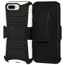 Load image into Gallery viewer, Rugged TUFF Hybrid Armor Hard Defender Case with Holster - Black/ White for iPhone 7 Plus