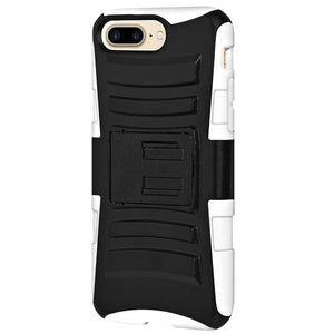 Rugged TUFF Hybrid Armor Hard Defender Case with Holster - Black/ White for iPhone 7 Plus