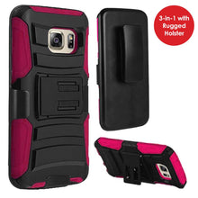 Load image into Gallery viewer, Rugged TUFF Hybrid Armor Hard Defender Case with Holster - Black/ Hot Pink for Samsung GALAXY S7 SM-G930F
