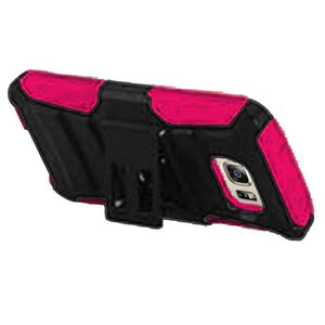 Rugged TUFF Hybrid Armor Hard Defender Case with Holster - Black/ Hot Pink for Samsung GALAXY S7 SM-G930F