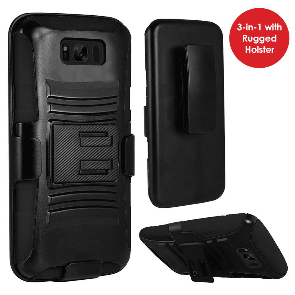 Premium Hybrid Kickstand Case with Holster - Black/ Black for Samsung Galaxy S8