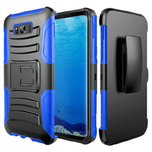 Load image into Gallery viewer, Rugged TUFF Hybrid Armor Hard Defender Case with Holster - Black/ Dark Blue for Samsung Galaxy S8