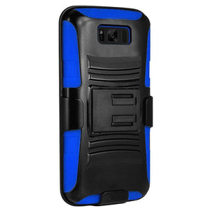 Rugged TUFF Hybrid Armor Hard Defender Case with Holster - Black/ Dark Blue for Samsung Galaxy S8