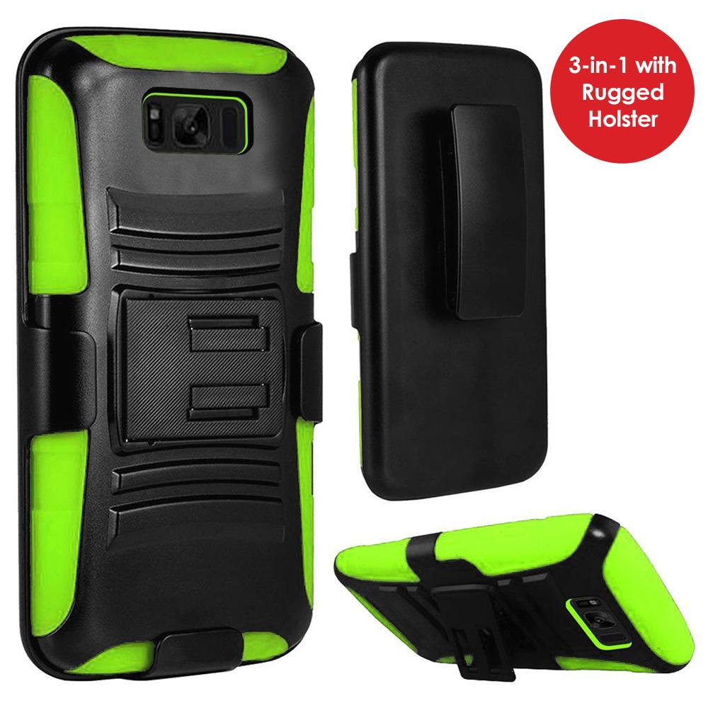 Rugged TUFF Hybrid Armor Hard Defender Case With Holster for Samsung Galaxy S8 - Black/ Neon Green