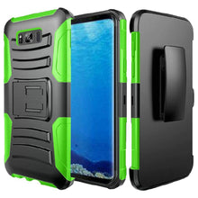 Load image into Gallery viewer, Rugged TUFF Hybrid Armor Hard Defender Case With Holster for Samsung Galaxy S8 - Black/ Neon Green
