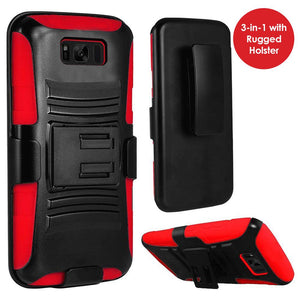 Rugged TUFF Hybrid Armor Hard Defender Case with Holster - Black/ Red for Samsung Galaxy S8