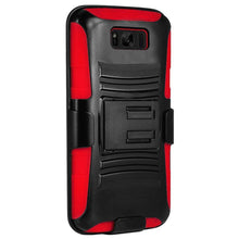 Load image into Gallery viewer, Rugged TUFF Hybrid Armor Hard Defender Case with Holster - Black/ Red for Samsung Galaxy S8