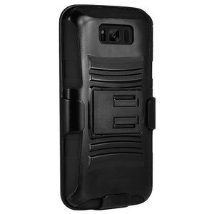 Premium Hybrid Kickstand Case with Holster - Black/ Black for Samsung Galaxy S8 Plus