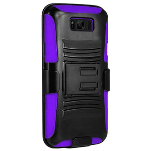 Rugged TUFF Hybrid Armor Hard Defender Case with Holster - Black/ Dark Purple for Samsung Galaxy S8 Plus