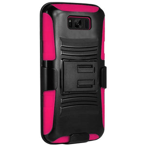 Premium Hybrid Double Layer Armor Case with Holster - Black/ Hot Pink for Samsung Galaxy S8