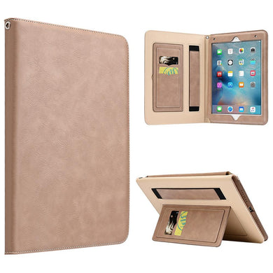 AMZER® Workman Leather Slim-Fit Folio Smart Folding Case With Hand Strap - Beige for Apple iPad Pro 9.7