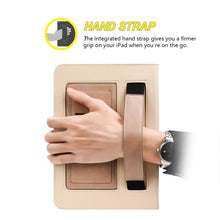 Load image into Gallery viewer, AMZER® Workman Leather Slim-Fit Folio Smart Folding Case With Hand Strap - Beige for Apple iPad Pro 9.7
