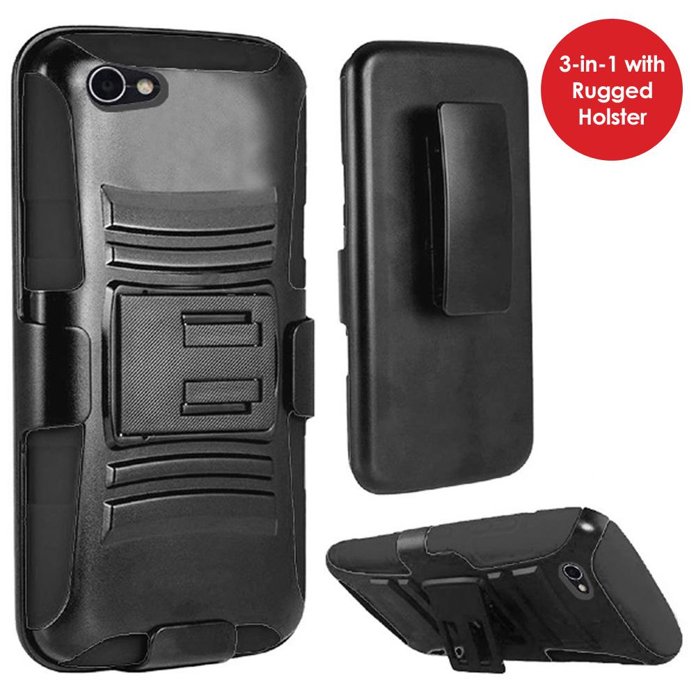 Rugged TUFF Hybrid Armor Hard Defender Case with Holster - Black/ Black for Alcatel A50