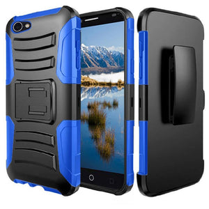 Rugged TUFF Hybrid Armor Hard Defender Case with Holster - Black/ Blue for Alcatel A50