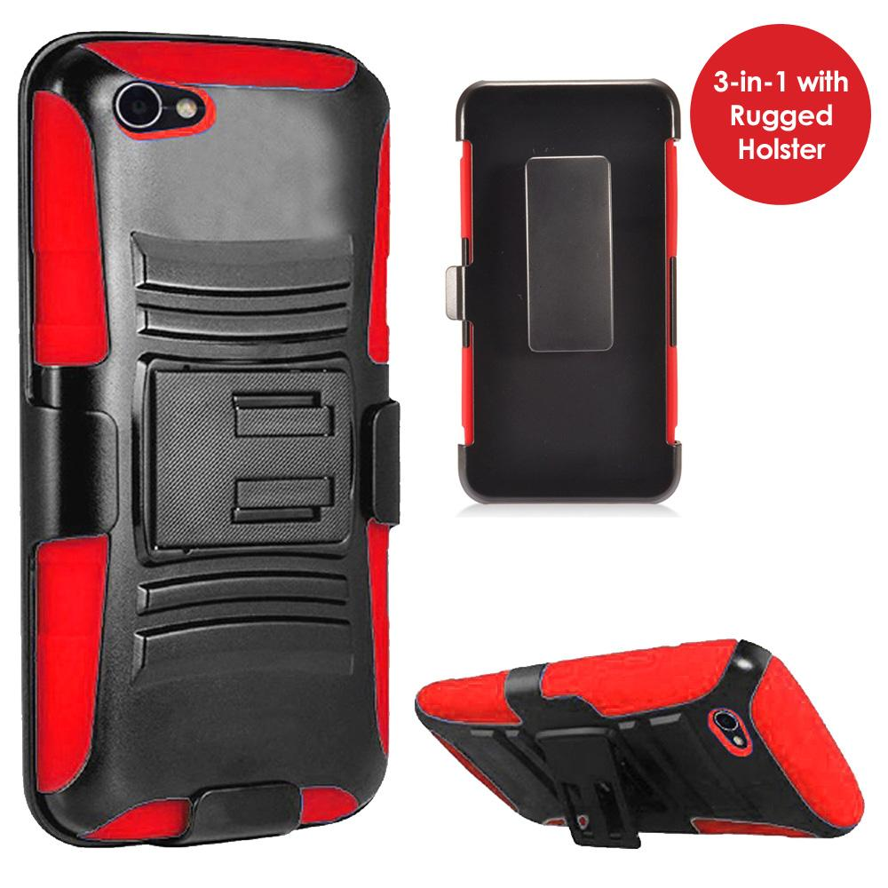 Rugged TUFF Hybrid Armor Hard Defender Case with Holster - Black/ Red for Alcatel A50