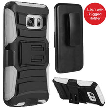 Load image into Gallery viewer, Rugged TUFF Hybrid Armor Hard Defender Case with Holster - Black/ White for Samsung GALAXY S7 SM-G930F