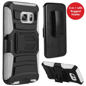 Rugged TUFF Hybrid Armor Hard Defender Case with Holster - Black/ White for Samsung GALAXY S7 SM-G930F