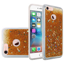 Load image into Gallery viewer, Hybrid Quicksand with Glitter Fused Flexible TPU Case - Gold for iPhone 7