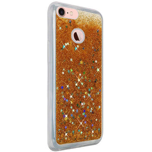 Hybrid Quicksand with Glitter Fused Flexible TPU Case - Gold for iPhone 7