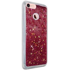 Hybrid Quicksand with Glitter Fused Flexible TPU Case - Hot Pink for iPhone 7