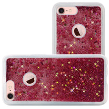 Load image into Gallery viewer, Hybrid Quicksand with Glitter Fused Flexible TPU Case - Hot Pink for iPhone 7