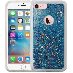 Hybrid Quicksand with Glitter Fused Flexible TPU Case - Light Blue for iPhone 7, iPhone SE 2020