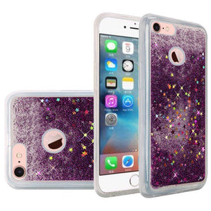 Hybrid Quicksand with Glitter Fused Flexible TPU Case - Dark Purple for iPhone 7