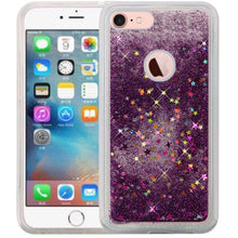 Load image into Gallery viewer, Hybrid Quicksand with Glitter Fused Flexible TPU Case - Dark Purple for iPhone 7