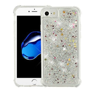 Hybrid Quicksand with Glitter Fused Flexible TPU Case - Silver for iPhone 7