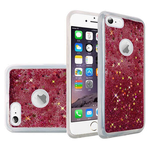 Hybrid Quicksand with Glitter Fused Flexible TPU Case - Hot Pink for iPhone 6/ 6s for iPhone 6