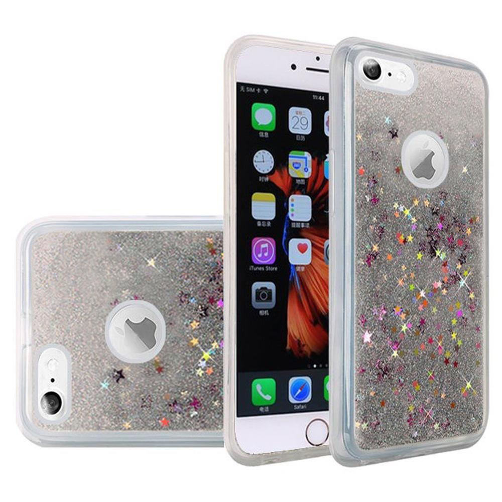 Hybrid Quicksand with Glitter Fused Flexible TPU Case - Silver for iPhone 6 Plus/ 6s Plus for iPhone 6 Plus