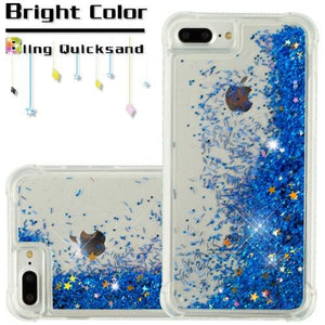 Hybrid Quicksand with Glitter Fused Flexible TPU Case - Light Blue for iPhone 7 Plus